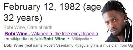 Bobi Wine's Wikipedia profile indicating he is 32