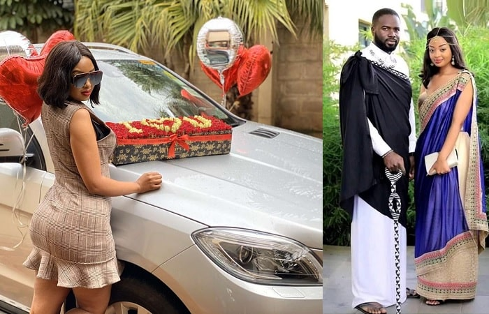 Anita next to her ride and on the right is the couple durinhg their traditional wedding last year