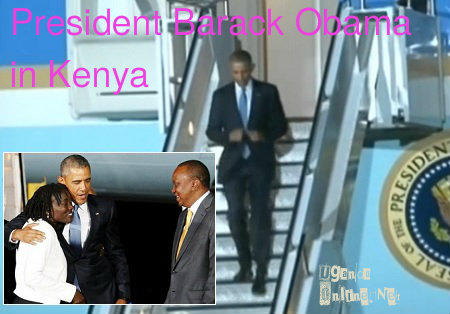 President Obama gets off the Air Force One in Kenya