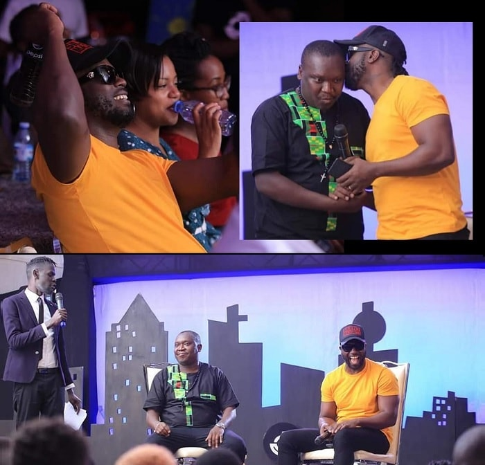Bebe Cool and Zuena enjoying the comesy show
