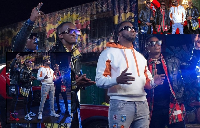 Bebe Cool and the Kampala boys recording a song together