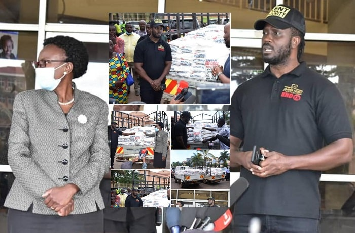 Uganda Health Minister Dr. Jane Ruth Acheng and Bebe Cool after handing over the items