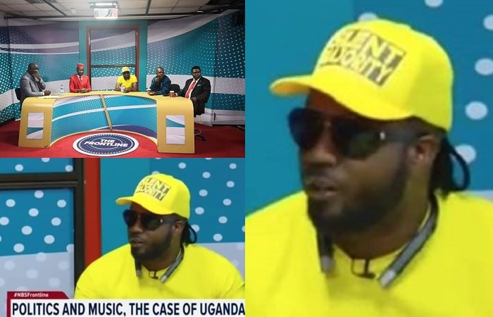 Bebe Cool durung the Frontline talk show on NBS