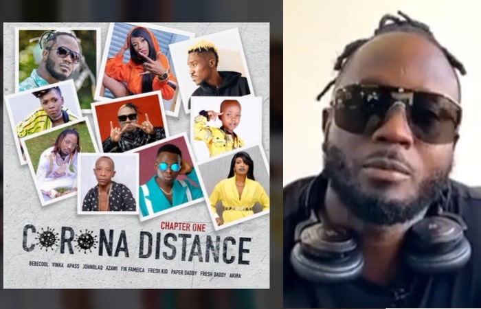 Bebe Cool and the artists he worked with on the Corona Distance song
