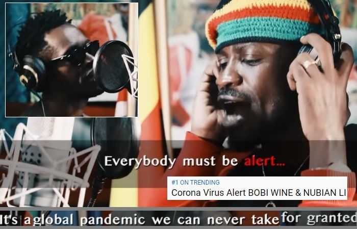 Bobi Wine and Nubian Li doing their thing on the Coronavirus song