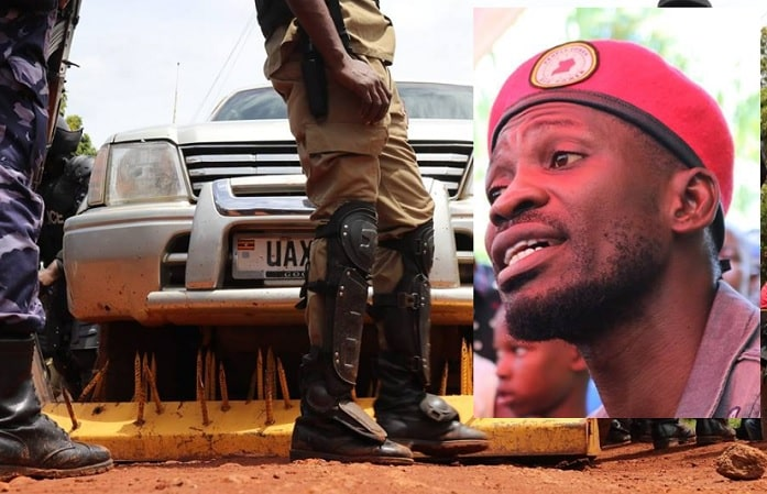 The vehicle Bobi Wine was travelling in was blocked