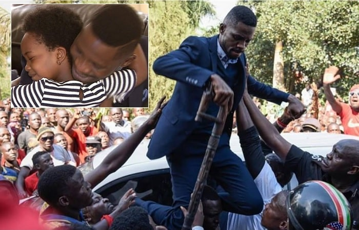 Bobi Wine being helped up a police vehicle and inset is his daughter, Shine, hugging him