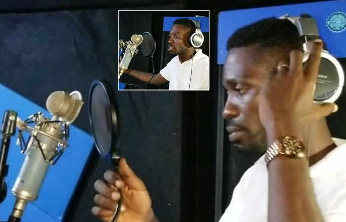 Bobi Wine recording the Fiscal Policy song