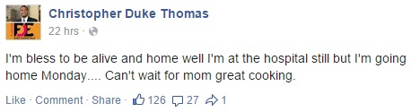 Christopher Thomas looking forward to mom's food