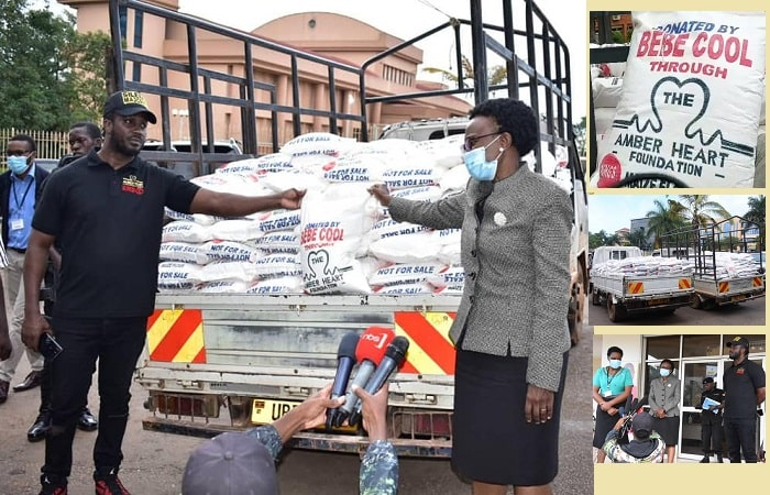 Bebe Cool handing over the food supplies to the COVID task force
