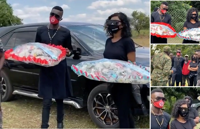 Chameleone and Spice Diana pay their respects