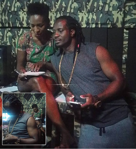 Bebe Cool compares noteswith Cindy on the Kakondo song