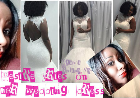 Desire Luzinda trying on her wedding dress