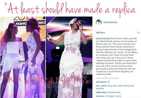 Desire Luzinda accuses Phiona Bizzu of stealing her dress