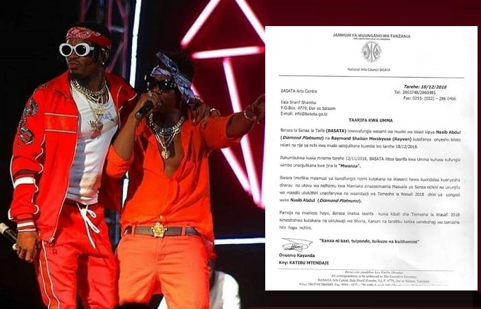 Diamond Platnumz and Rayvanny have been blocked from performing outside Tanzania