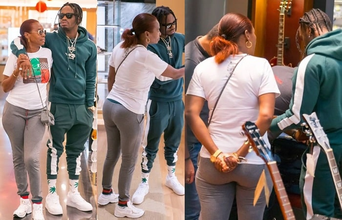 Diamond Platnumz and his mom doing some shopping in Dubai