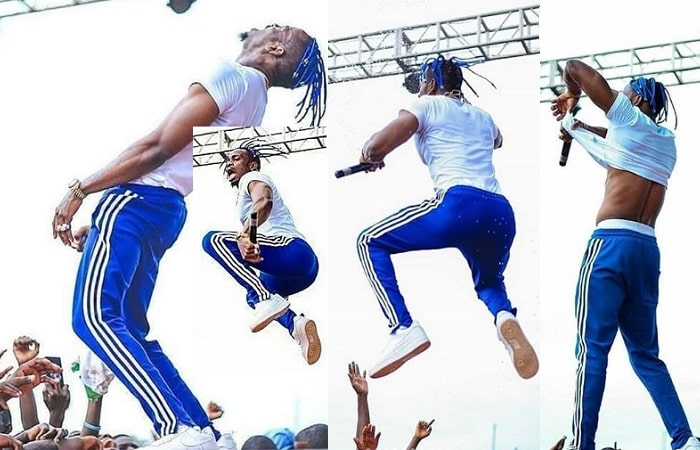 Diamond Platnumz performing before the stage caved in leading to the fall
