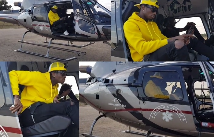Diamond Platnumz in his hired chopper