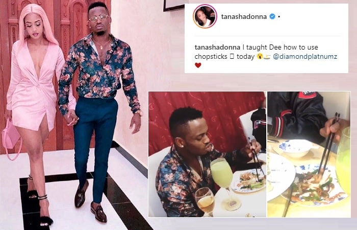 Diamond Platnumz learns how to use chopsticks