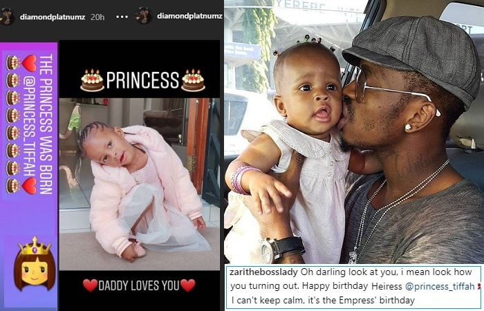 Diamond Platnumz used the Instagram stories section for Tiffah' BD message