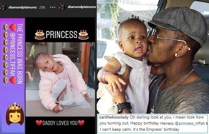 Diamond Platnumz used the Instagram stories section for Tiffah' BD message