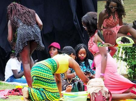 Miss Uganda and Big Brother Hot star, Ellah showing off her dark legs..