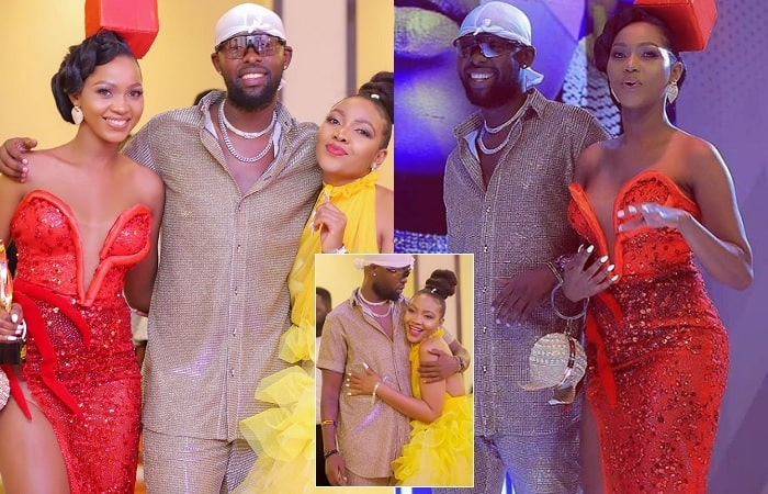 Eddy Kenzo sandwiched by Spice Diana and Pia Pounds