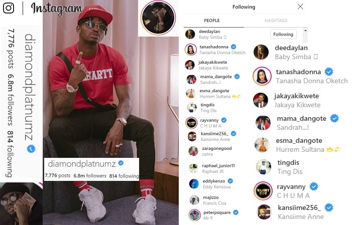 Diamond Platnumz's followers on Instagram