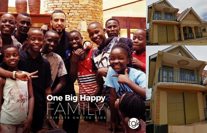 French Montana and the Triplets Ghetto Kids and inset is the house he bought for them