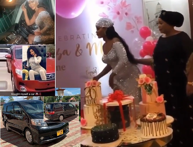 Hamisa Mobetto and her rides and on the right she is at her birthday party