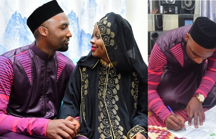Hamza and Rema look each other in the eye after the Nikah wedding