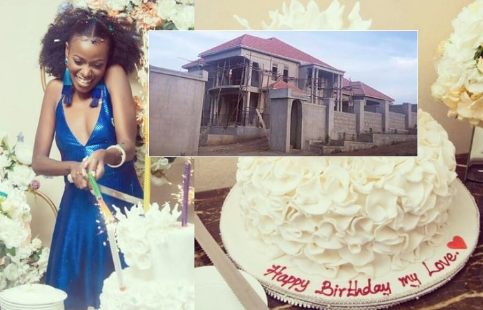 Helen Lukoma cutting the buirthday cake from Mr. A and inset is the Black Barbie Mansion