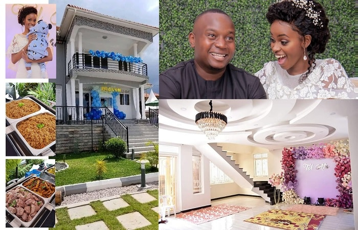 All smiles - Hellen Lukoma and hubby during their housewarming party