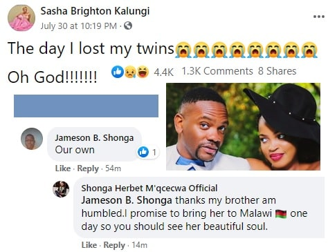 Sasha Brighton communicating about her twin babies that she lost due to some complications