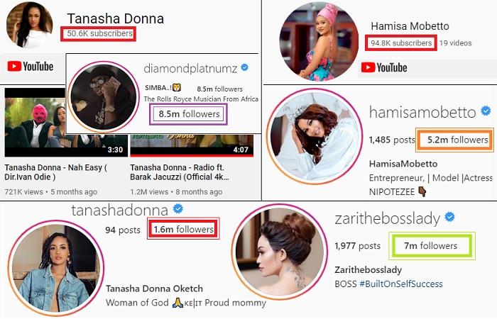 Youtube and Instagram followers for Diamond Platnumz's baby mamas