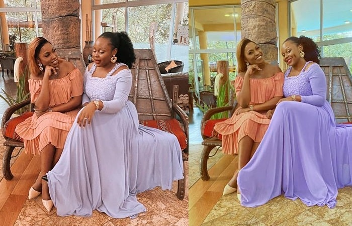 Irene Ntale and Rema Namakula at a wedding over the weekend