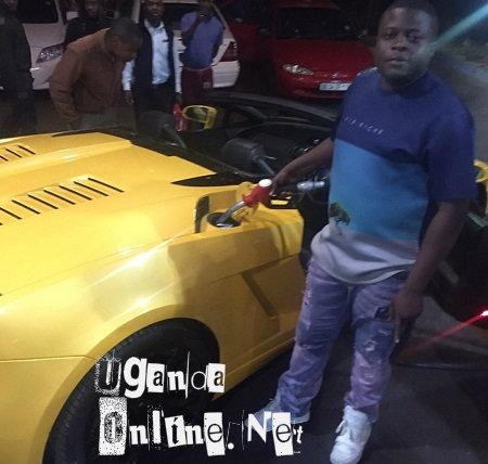 Ivan filling up his yellow Lamborghini
