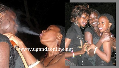 Janet sharing shisha smoke with a pal at a nite out
