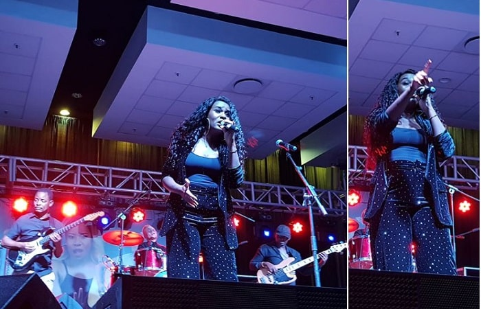 Juliana Kanyomozi performing at Mlimani City Hall in Tanzania
