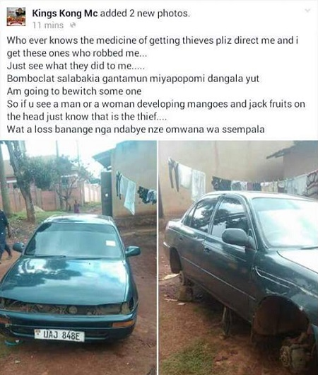 King Kongs Toyota Corolla after being robbed clean