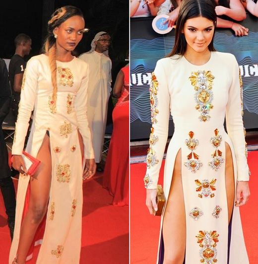 white embellished long-sleeved Fausto Puglisi gown