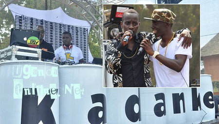 Inset are NTV's MC Kats and Douglas Lwanga