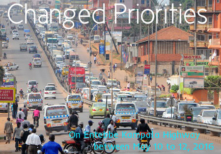Changed priorities on Entebbe Kampala Highway ahead of swearing in ceremony