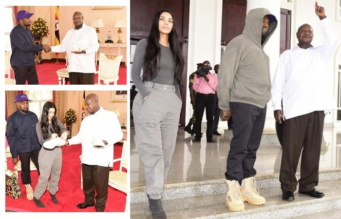 Kanye West and Kim Kardashian at State House in Entebbe