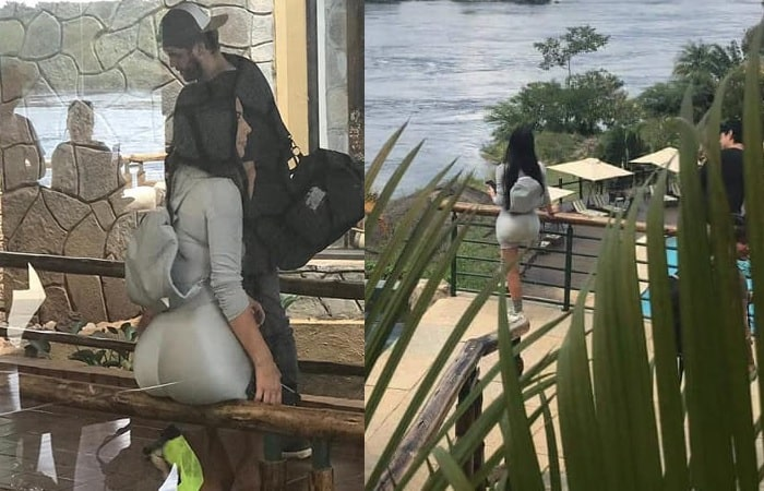 Kim Kardashian enjoying the cool breeze at Chobe Safari Lodge