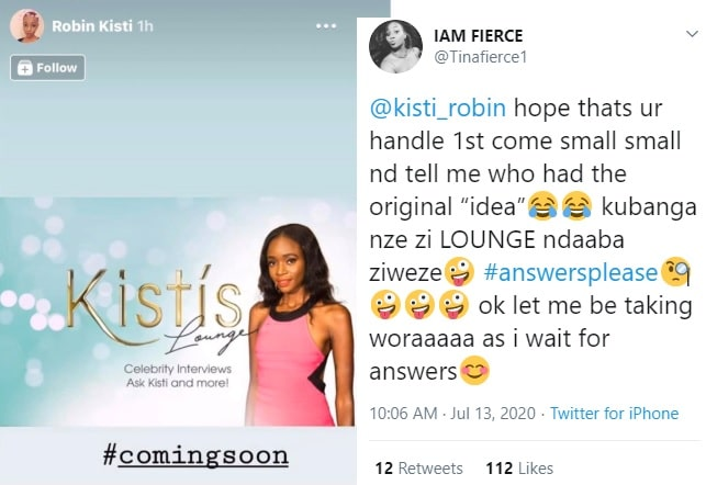 Tina Fierce asks Robin Kisti who copied the other