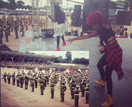 Leila Kayondo performing for the President