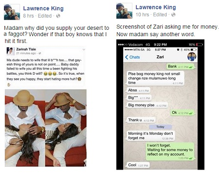 Screenshots of King Lawrence claiming how he slept with Zari for money