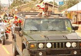 Maureen Namatovu's convoy on arrival in Kampala