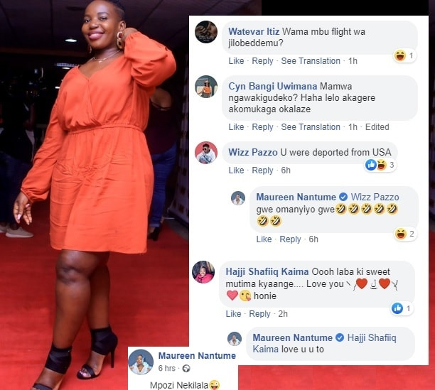 Maureen Nantume responds to a fan who was inquiring about her US trip and performance